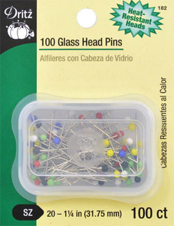 Glasshead Pins, Assorted Colours
