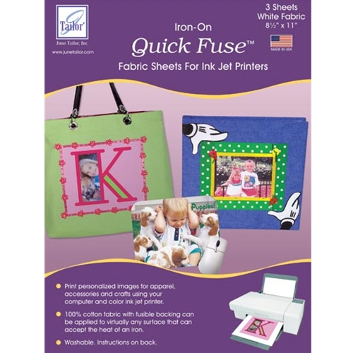 Quick Fuse (3 sheets/pack) - White Iron-On Fabric Sheets for Inkjet Printer
